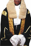 wig and gown, lawyer, barrister, judge wig and gown for sale